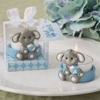 Baby Elephant With Blue Tea Light Holder